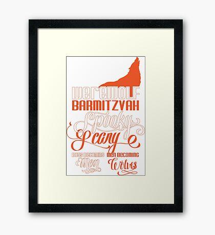 Werewolf Barmitzvah Orange Framed Print
