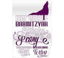 Werewolf Barmitzvah Purple White Poster