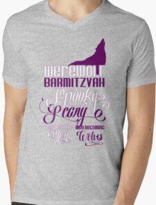 Werewolf Barmitzvah Purple White Mens V-Neck T-Shirt