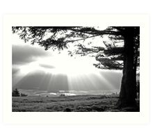 Sunrays bursting through clouds over Cerknica lake, Slovenia Art Print