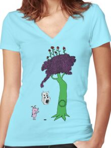 The Magic Giving Tree Finds Courage Women's Fitted V-Neck T-Shirt