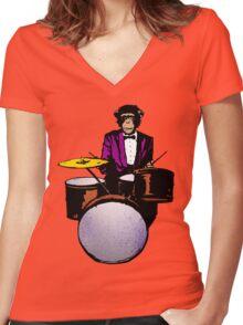 Swingin' Chimp Women's Fitted V-Neck T-Shirt