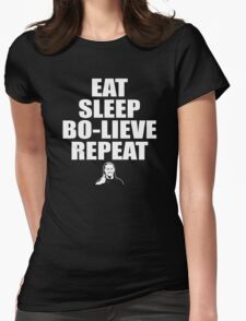 Eat Sleep Bolieve Repeat Womens Fitted T-Shirt