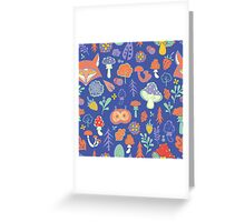 - Autumn forest pattern (blue) - Greeting Card