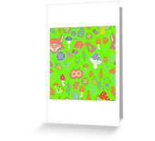 - Autumn forest pattern (light green) - Greeting Card