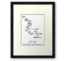 Romeo and Juliet Word Art Framed Print