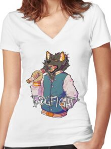 D O G F I G H T Women's Fitted V-Neck T-Shirt