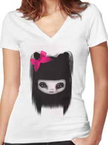 little scary doll Women's Fitted V-Neck T-Shirt