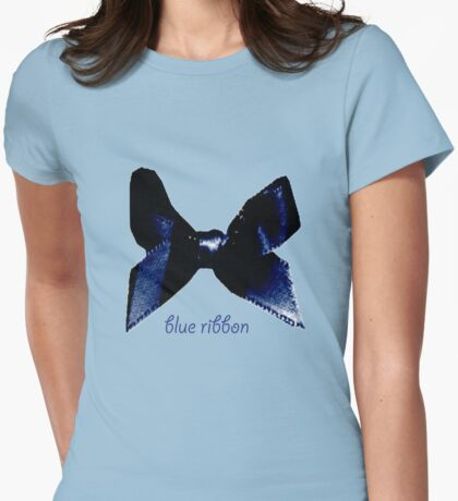 blue ribbon Womens Fitted T-Shirt