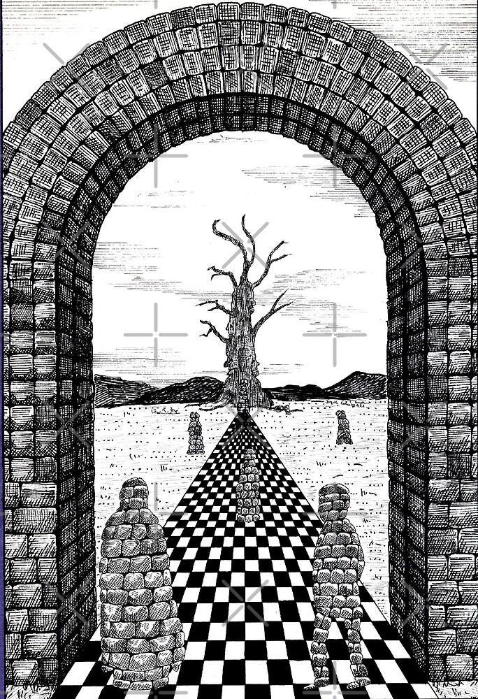 85 - FANTASY LANDSCAPE - 02 - DAVE EDWARDS - PEN & INK - 1984 by BLYTHART