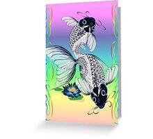 White Koi-Blue Lily  Greeting Card