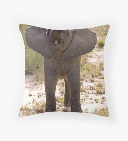 Baby Elephant Greeting Throw Pillow