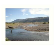 Fly Fisherman - Soda Butte Creek Art Print