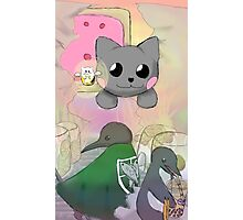 Penguin Attack on Nyan Cat Photographic Print