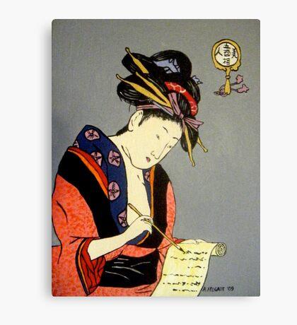 Geisha Writes a Letter Canvas Print