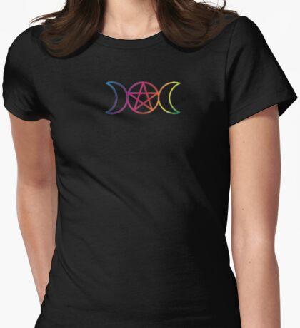 Rainbow Triple Goddess Pentagram Womens Fitted T-Shirt
