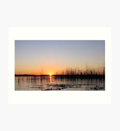 Sunrise Over An Icy Lake Art Print