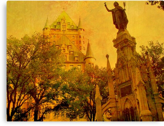 Chateau Frontenac, Quebec City   & Statue    by fiat777