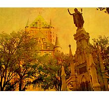 Chateau Frontenac, Quebec City   & Statue    Photographic Print