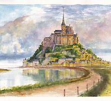 Mont Saint Michel Aquarelle by Dai Wynn
