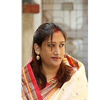 Lady in a traditional indian silk saree Photographic Print