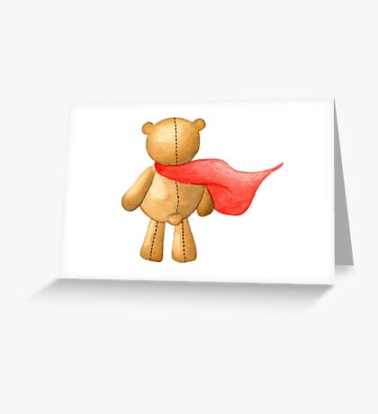 Watercolor Super Teddy Illustration Greeting Card
