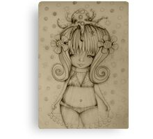 The Girl and The Octopus drawing Canvas Print