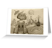 Teapot Topiary drawing Greeting Card