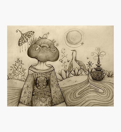 Teapot Topiary drawing Photographic Print