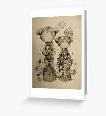Zen Garden drawing Greeting Card