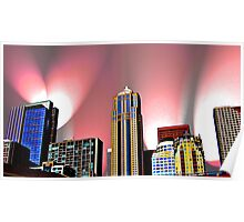 Seattle Skyline with Pink Lights Poster