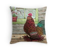 """April's Rooster"" Throw Pillow"