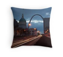 A dawn shot of the old courthouse and Gateway Arch in St Louis. Throw Pillow