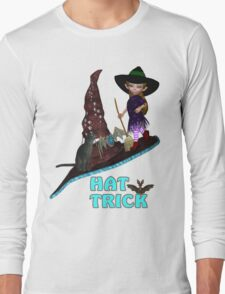 Hat Trick  .. A cute witch and black cat Long Sleeve T-Shirt