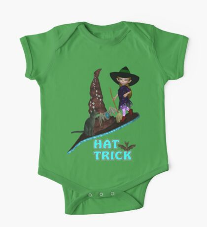 Hat Trick  .. A cute witch and black cat One Piece - Short Sleeve