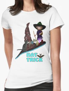 Hat Trick  .. A cute witch and black cat Womens Fitted T-Shirt