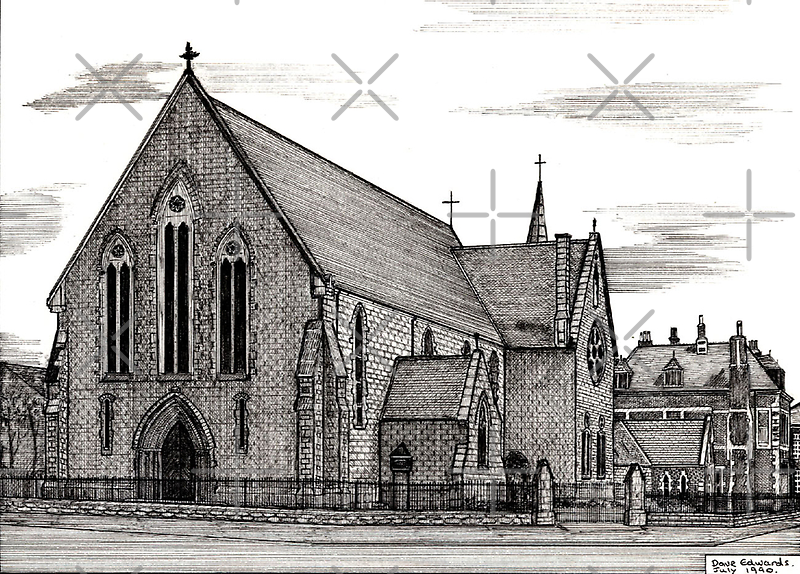 176 - OUR LADY & ST. WILFRID'S CHURCH, BLYTH - DAVE EDWARDS - INK - 1990 by BLYTHART