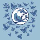 Bird, Butterflies, and Blossoms by mingtees
