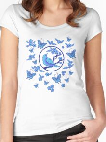 Bird, Butterflies, and Blossoms Women's Fitted Scoop T-Shirt