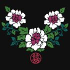 Chinese Peony Swag with Double Happiness Symbol by mingtees