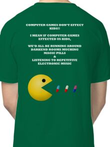 PAC MAN COMPUTER GAMES ELECTRONIC EATING PILLS WHITE Classic T-Shirt