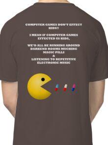 PAC MAN COMPUTER GAMES ELECTRONIC EATING PILLS WHITE Classic T-Shirt
