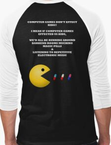 PAC MAN COMPUTER GAMES ELECTRONIC EATING PILLS WHITE Men's Baseball ¾ T-Shirt