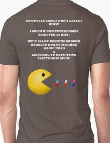 PAC MAN COMPUTER GAMES ELECTRONIC EATING PILLS WHITE Unisex T-Shirt