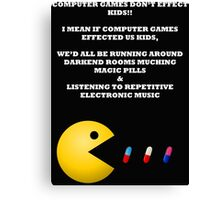 PAC MAN COMPUTER GAMES ELECTRONIC EATING PILLS WHITE Canvas Print