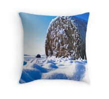 Frozen Hay on a Field of Blue Throw Pillow