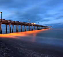 Venice pier at night by kathy s gillentine