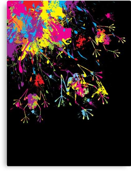Rainbow Splashing Frogs by Amy-lee Foley