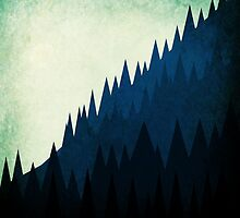 Blue Trees On A Mountain by JamesPeart
