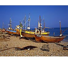 Fishing boats on Hastings beach East Sussex, UK Photographic Print